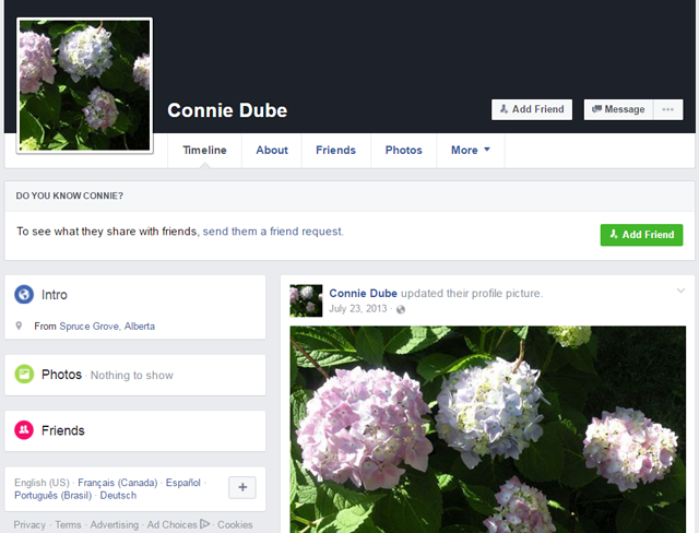 Connie Dube Facebook Profile